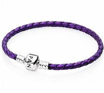 Кожаный браслет PANDORA фиолетовый