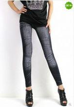 Женские джинсовые черные леггинсы
