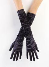Перчатки вечерние атласные длинные черные